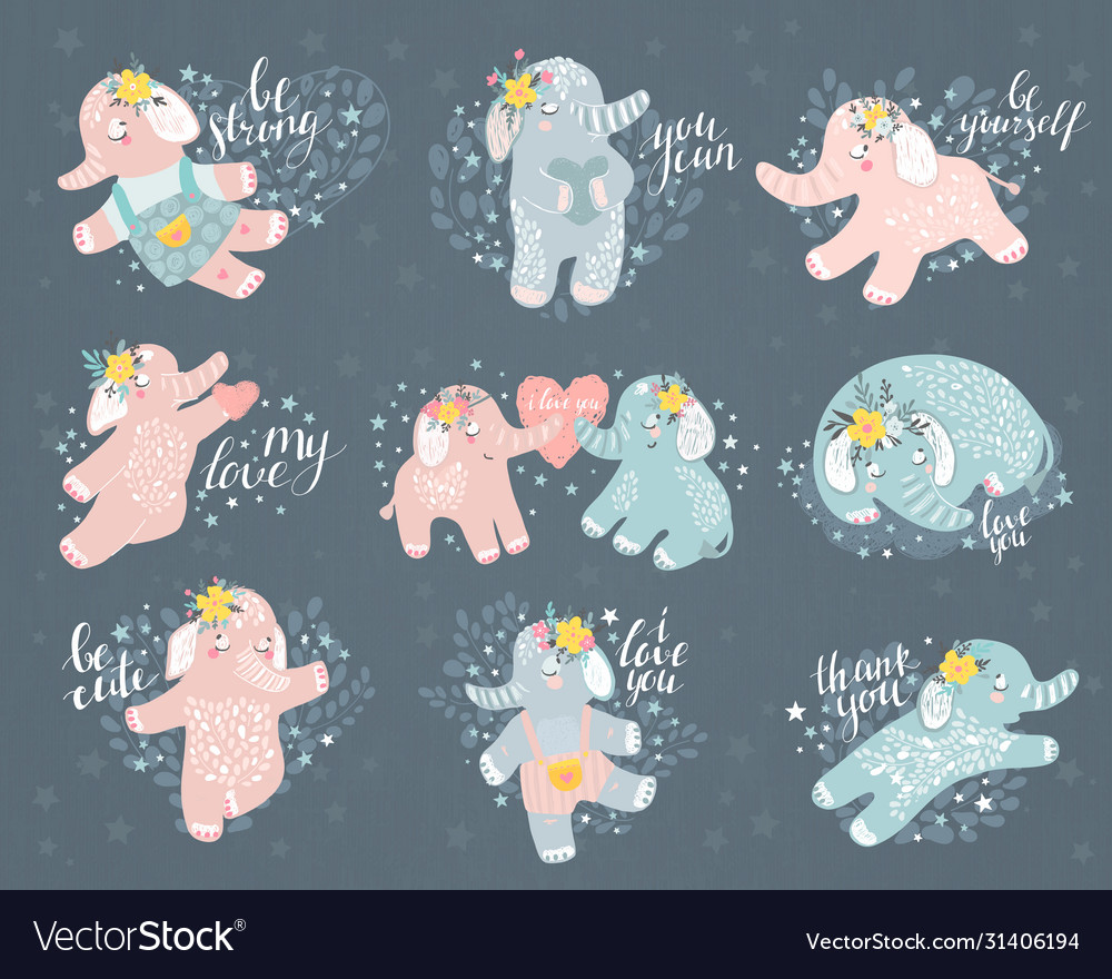 Abstract elephant set vector