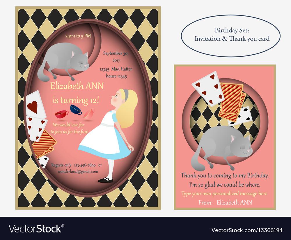 Alice in wonderland cheshire cat birthday vector image
