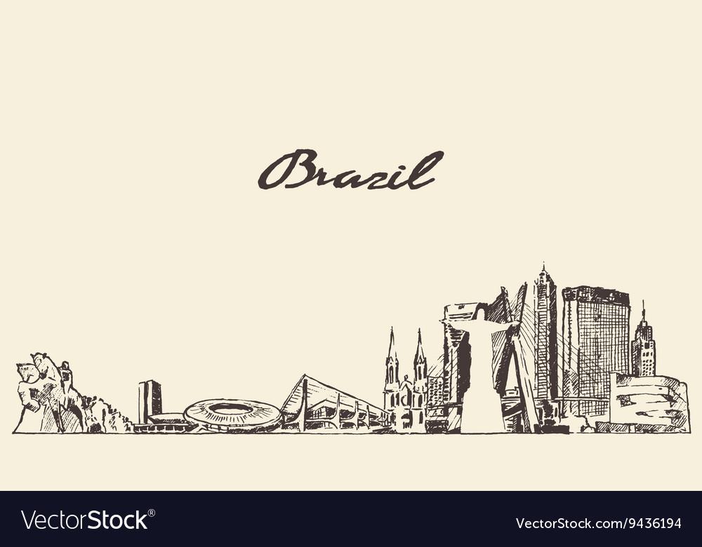 Brazil skyline drawn sketch