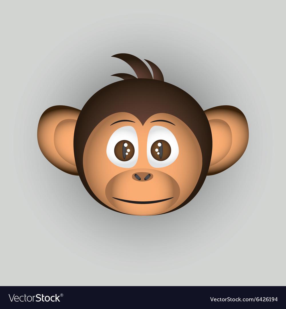Chimpanzee little monkey head cartoon character vector image