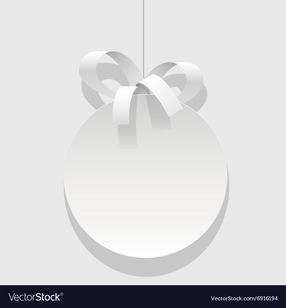 Christmas bauble white ball with a ribbon