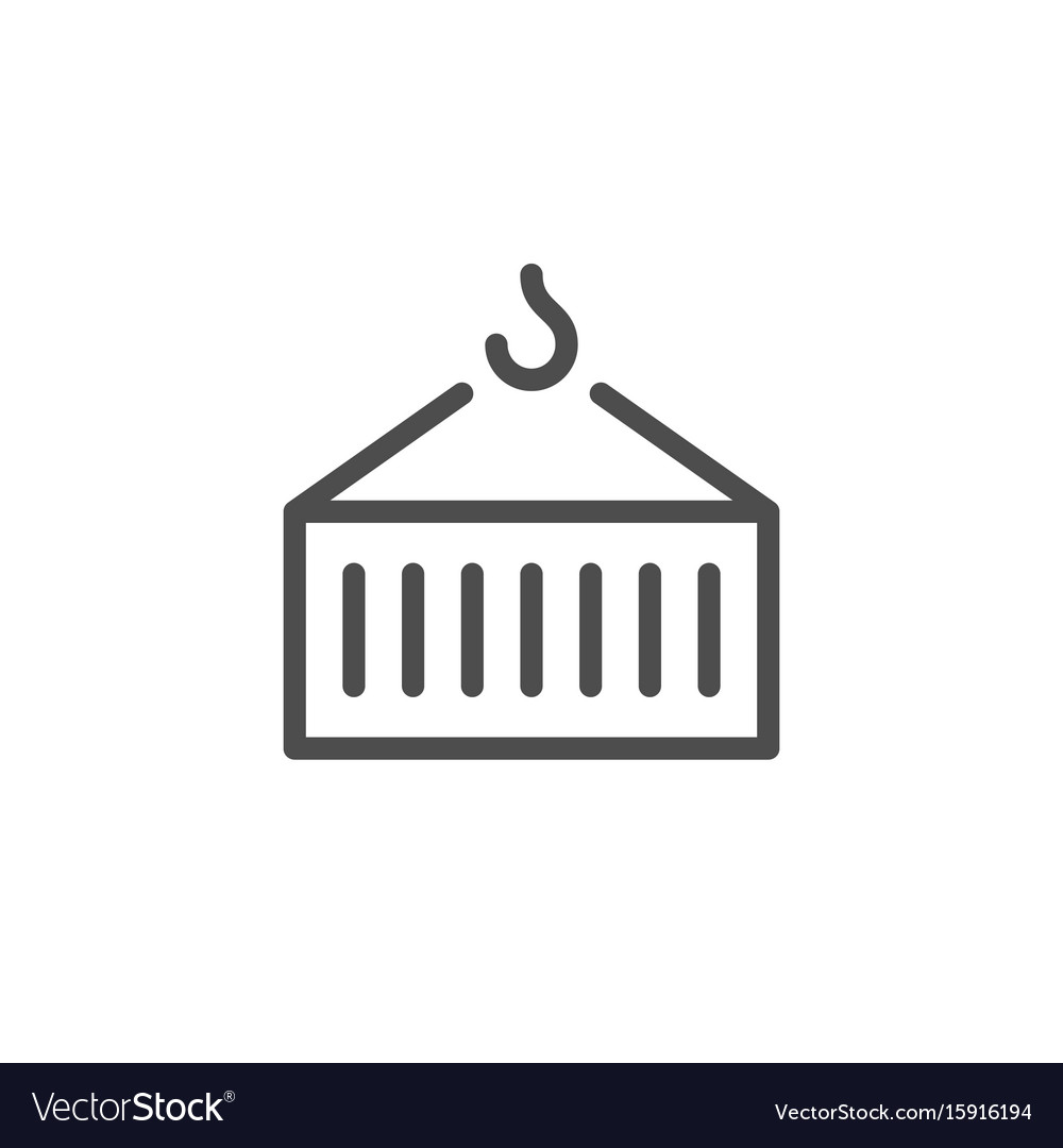 Container transportation line icon vector image