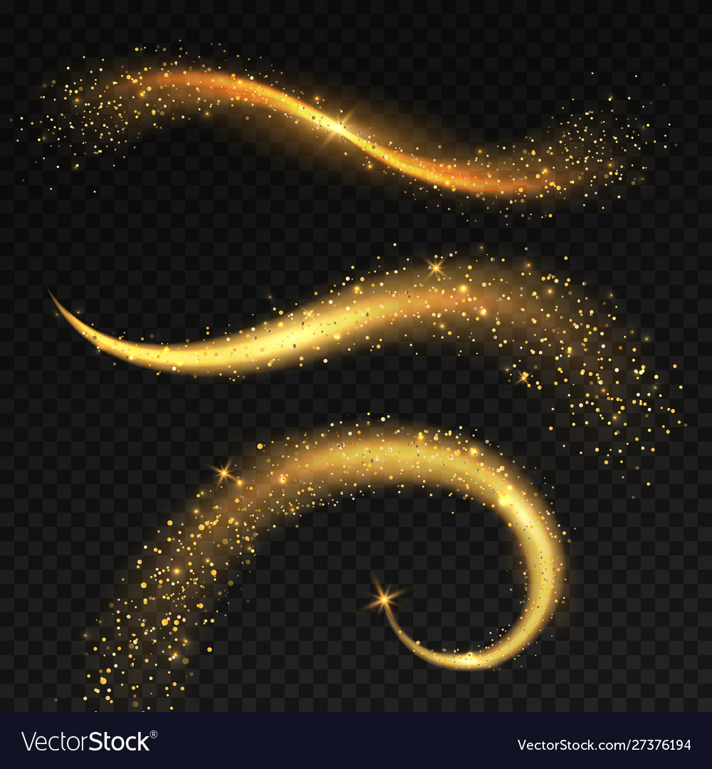 Golden light tails magic fairy stardust with