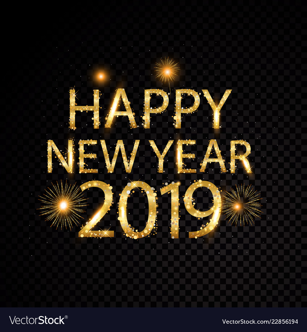 Happy new year 2019 golden letter and fireworks