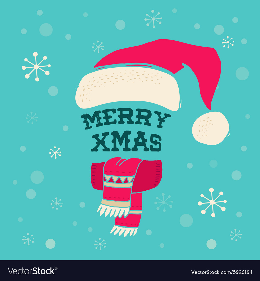 Merry Christmas - Santa hat with lettering