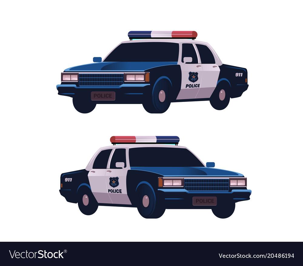 Retro police cars set isometric view police
