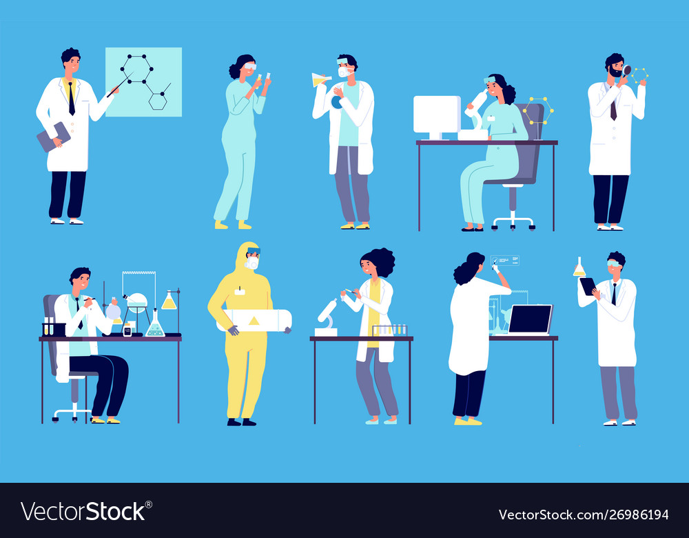Scientists characters people in white lab coat