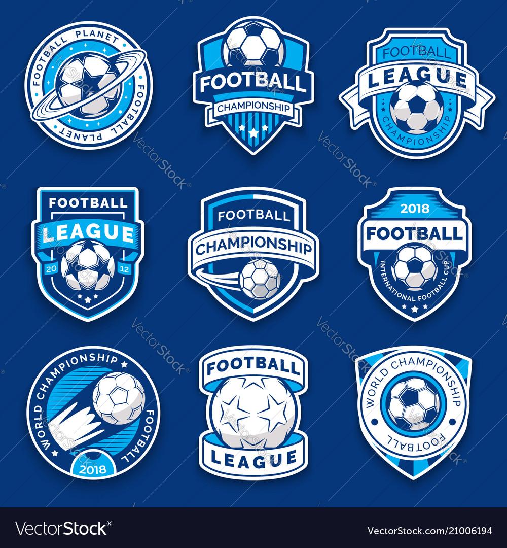 Set of nine football badges soccer emblems