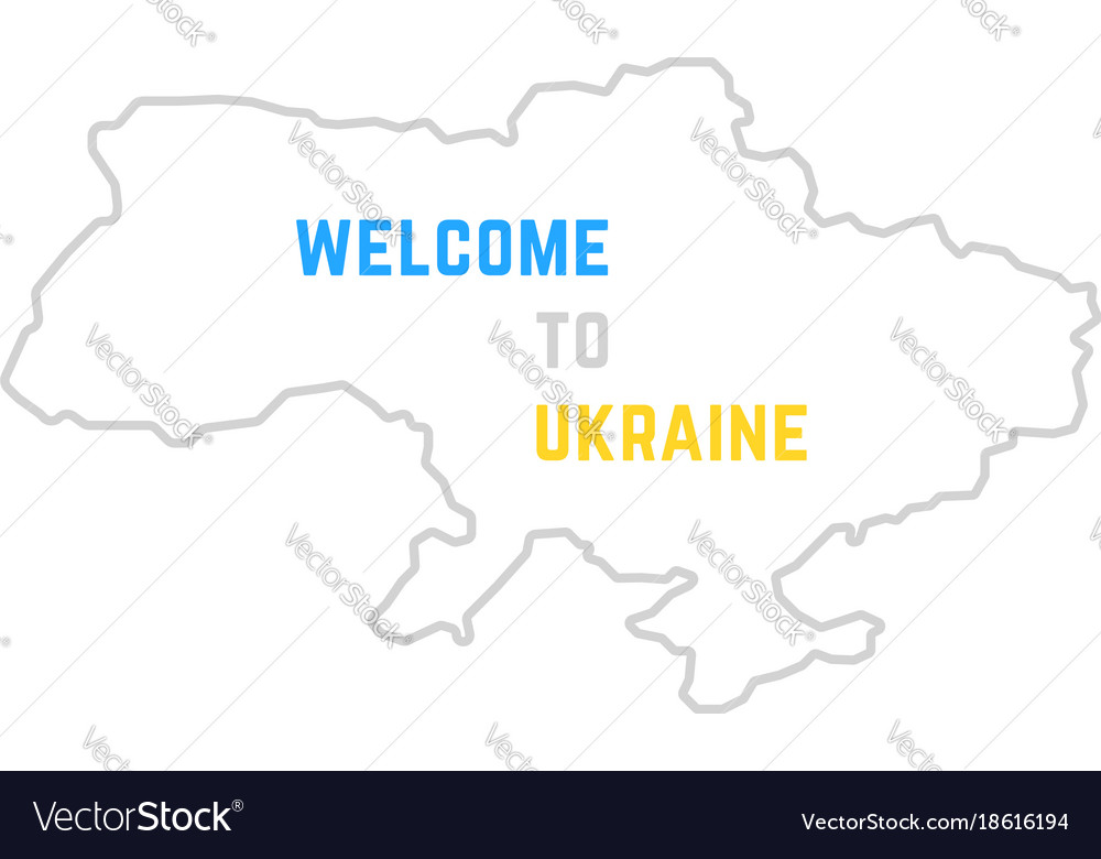 Thin line welcome to ukraine map