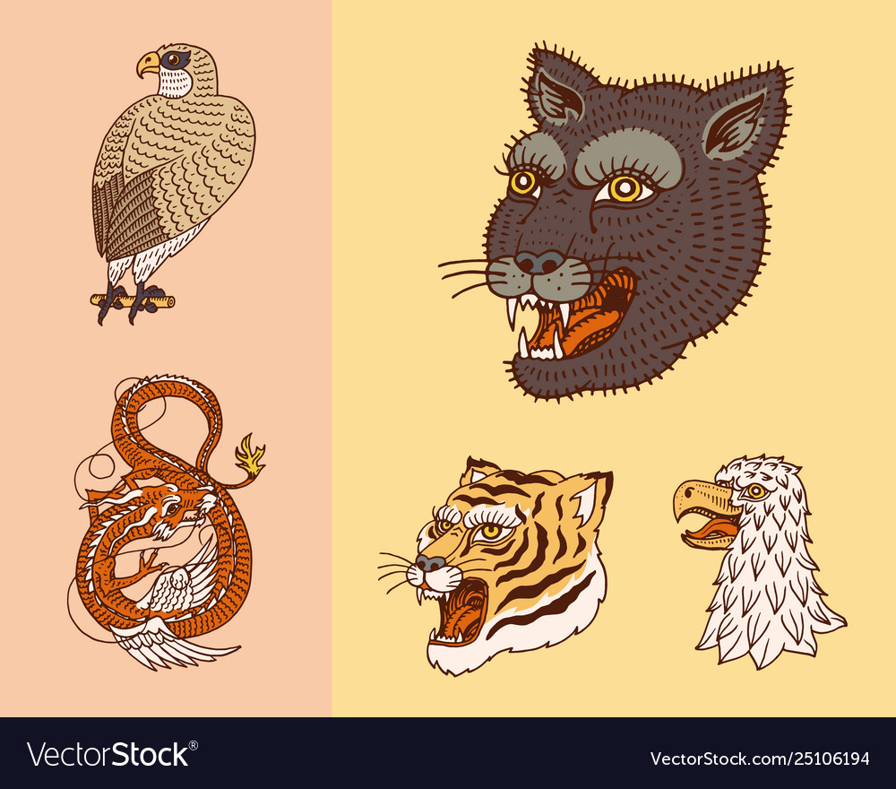 Wild vintage animals logo for t-shirt asian