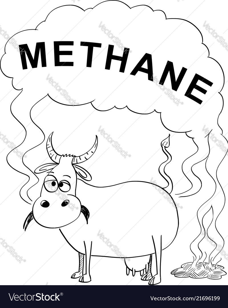 Black and white drawing or of cow producing