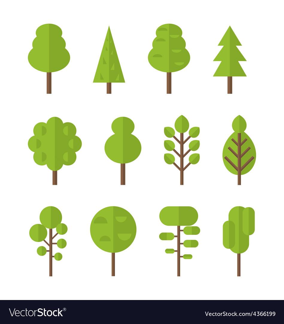 Collection set flat icons tree garden bush