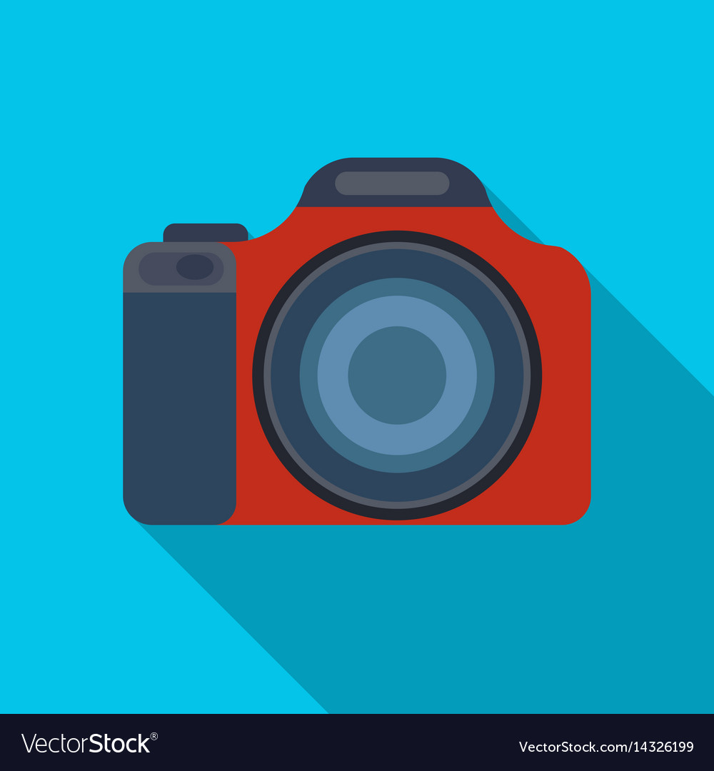 Digital camera icon in flat style isolated on
