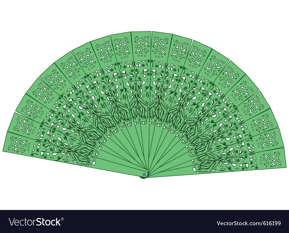 Green fan isolated on a white background