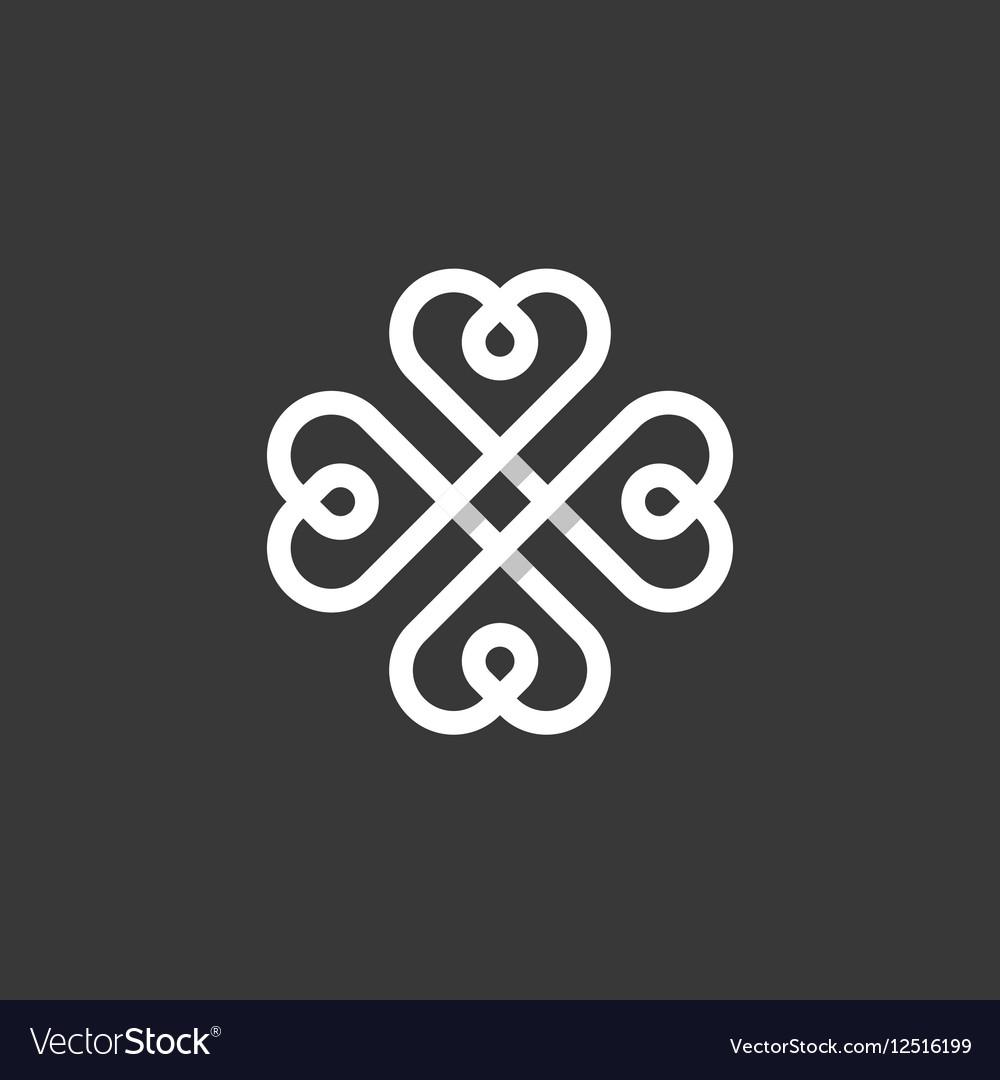 Heart sign pattern mark logo flat style
