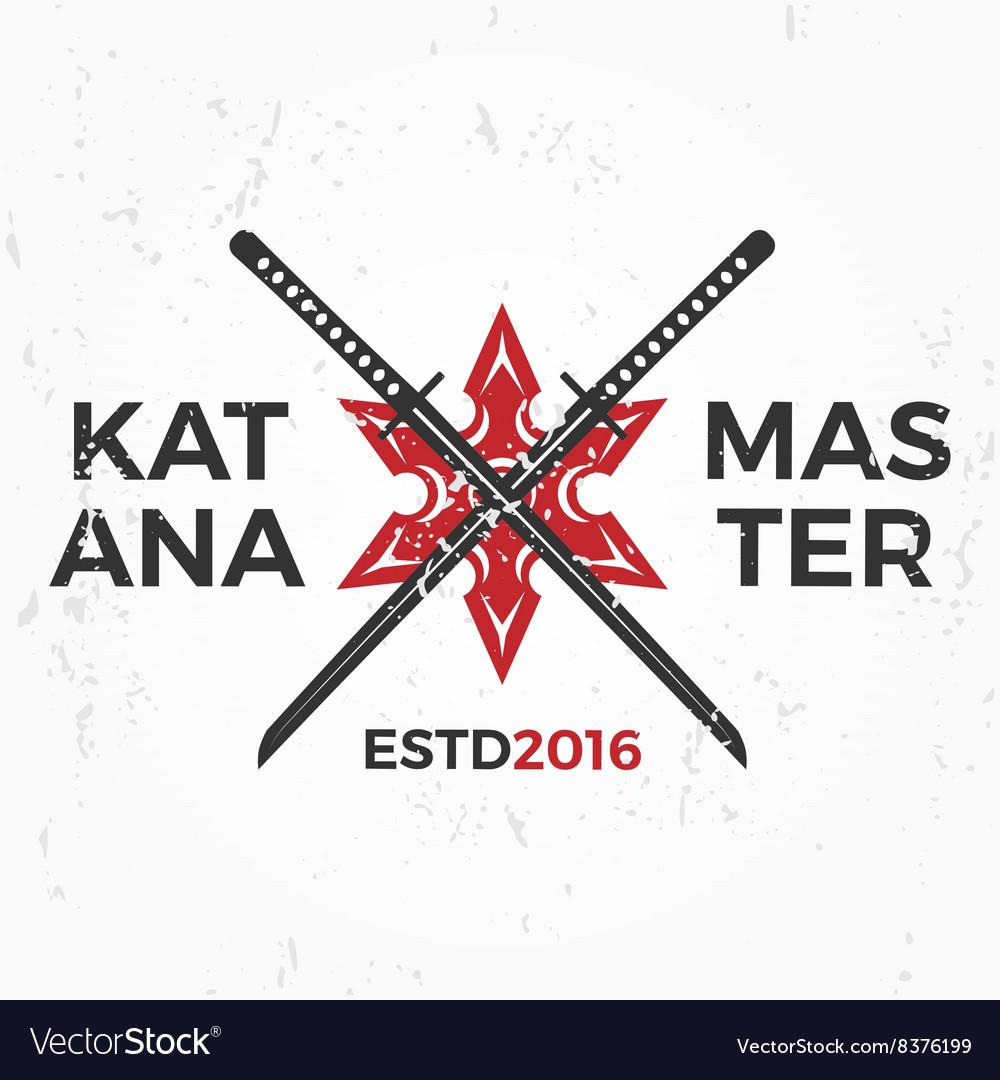 Japanese Ninja Logo Katana master insignia design