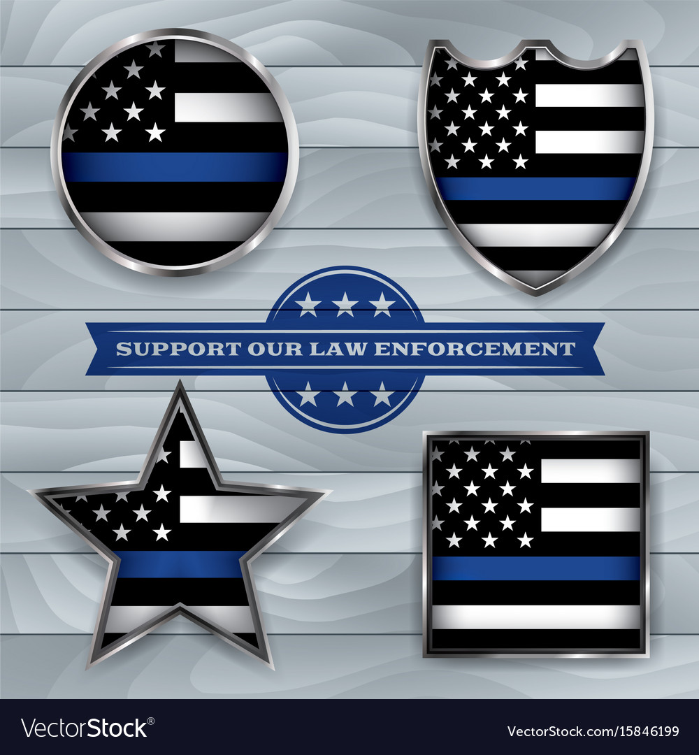 Police support flag badges vector image