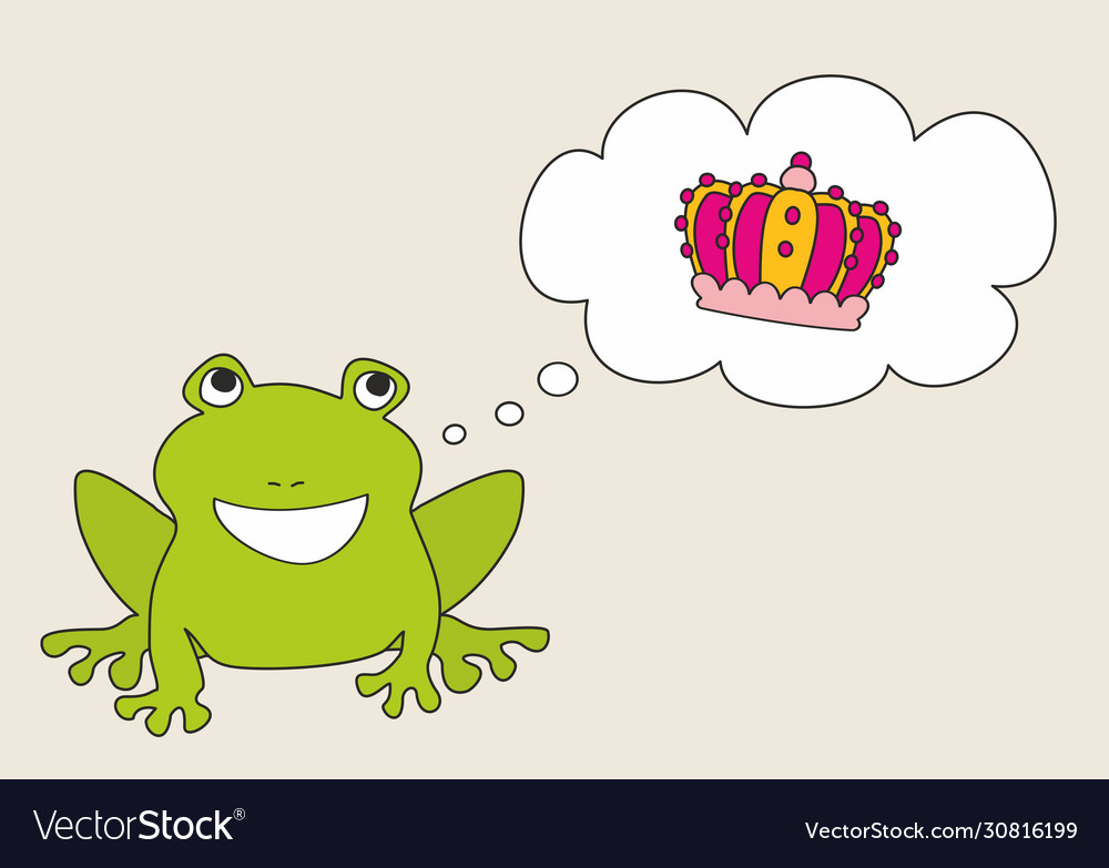 Prince or princess frog dreaming about crown