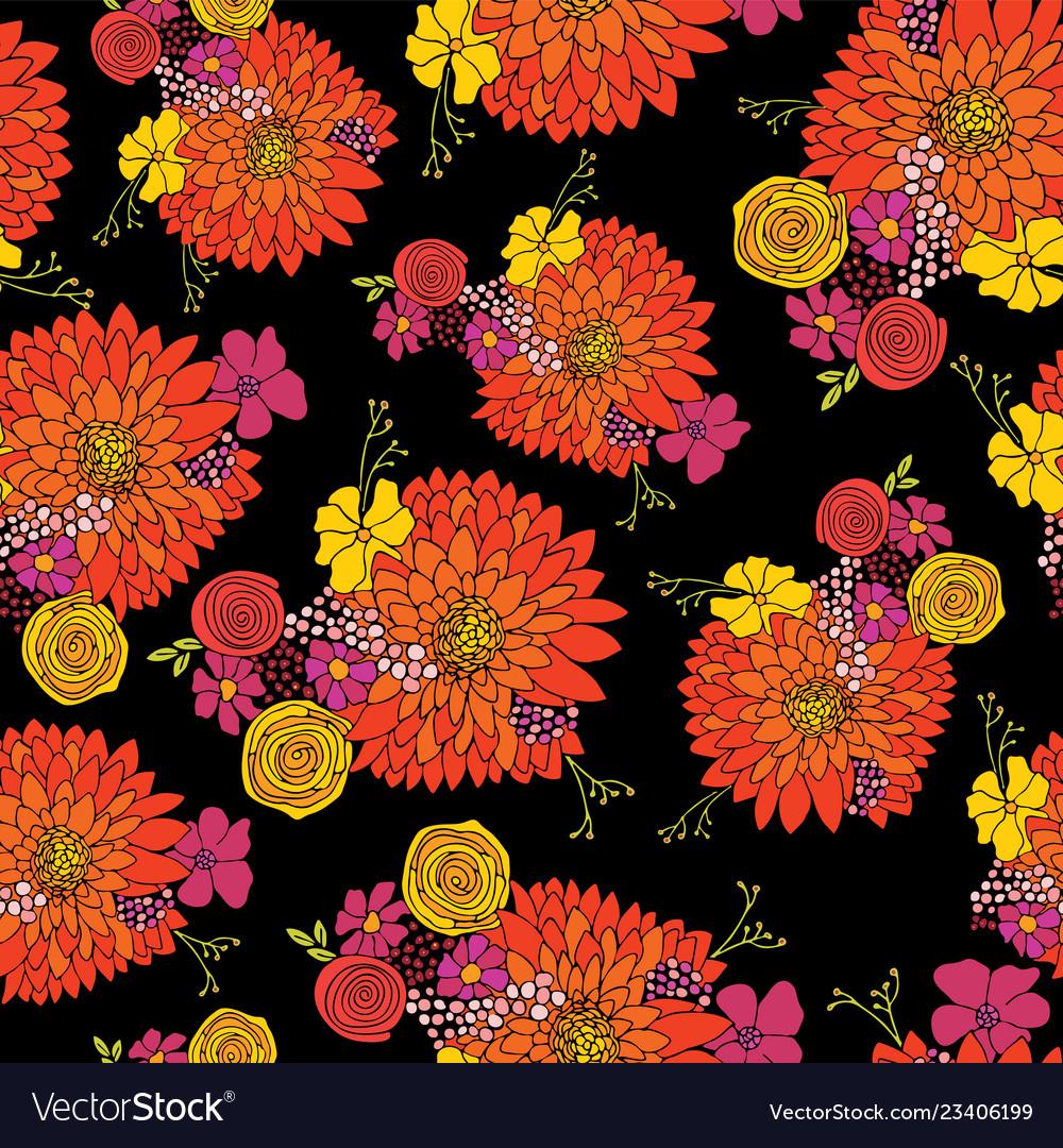 Seamless flower pattern aster daisy petunia