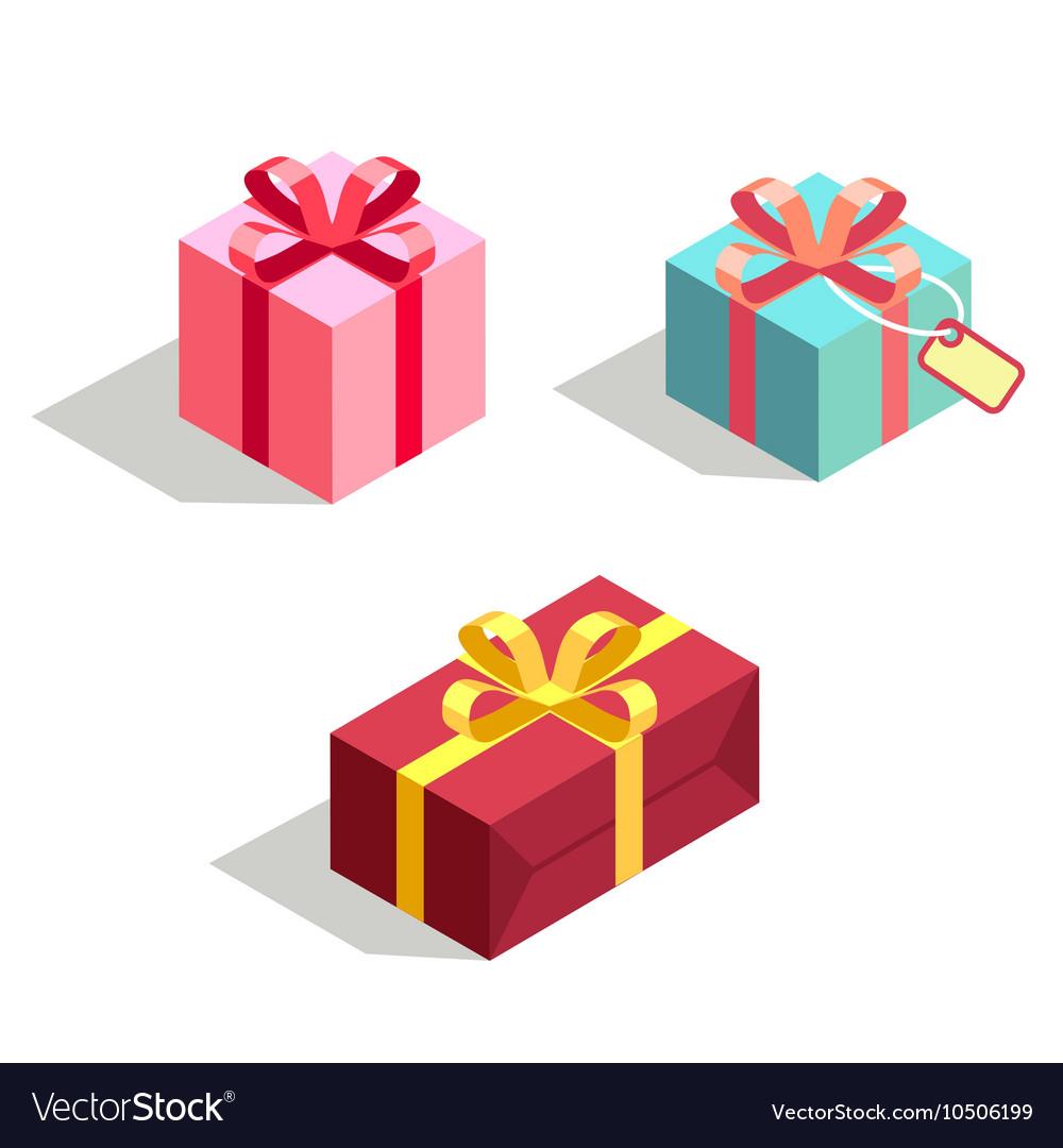 Set gift box 3d isometric