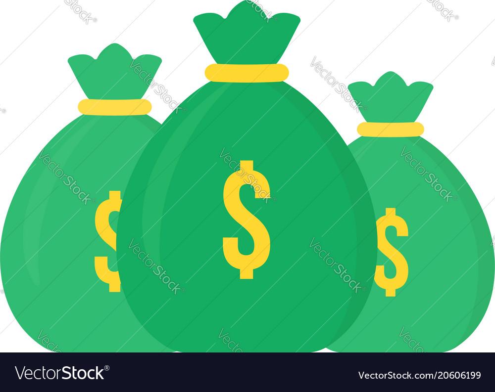 Set of green money bag icon like loan
