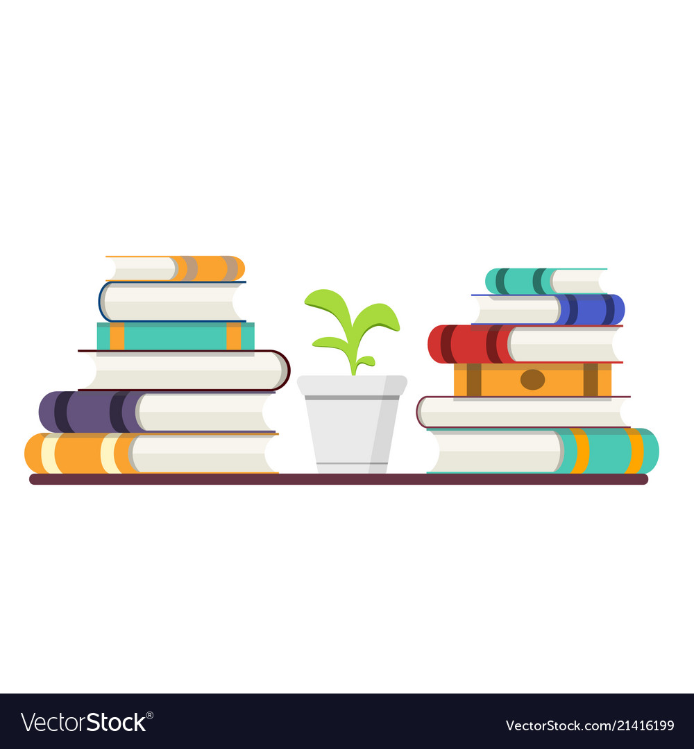 Stack of books with colored covers and plant
