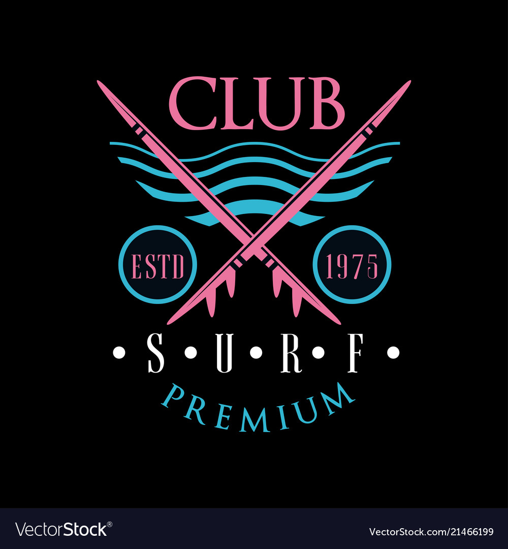 Surf club premium logo estd 1975 design element