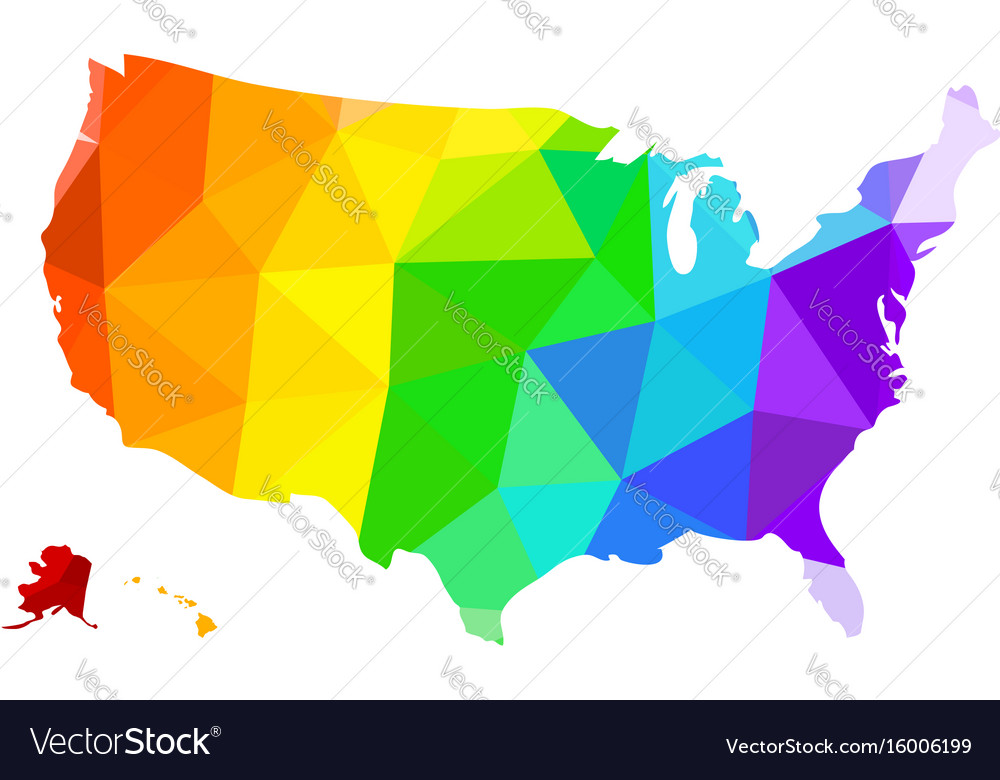 The lgbt flag in the form of a map of the united