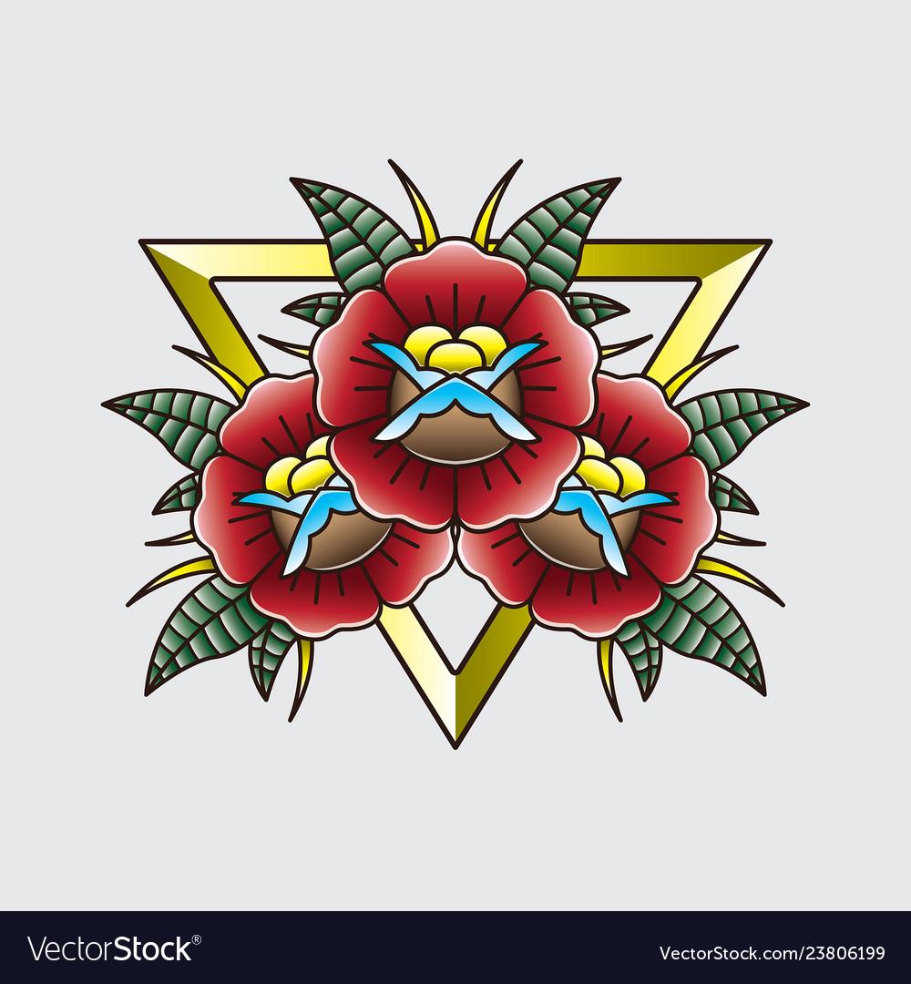Vintage tattoo flash flower