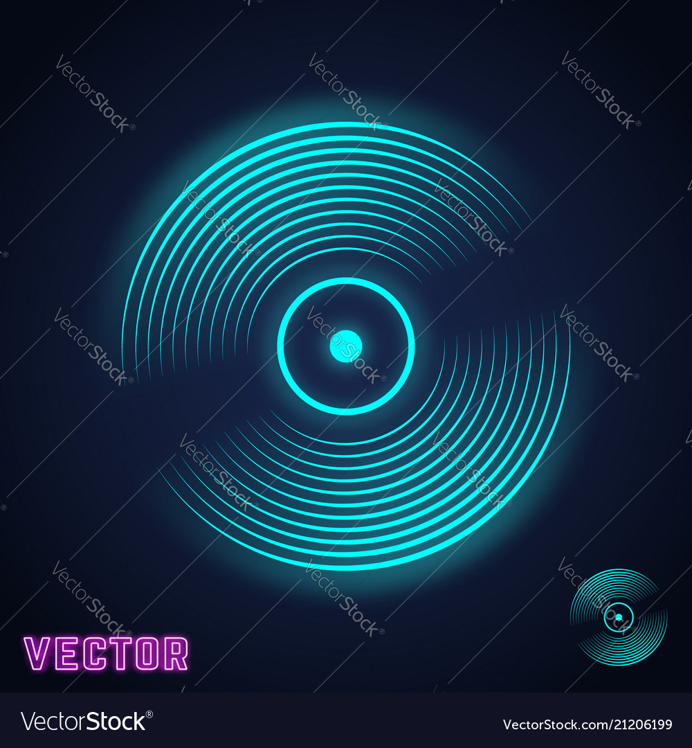 Vinyl record icon vintage music plate neon light