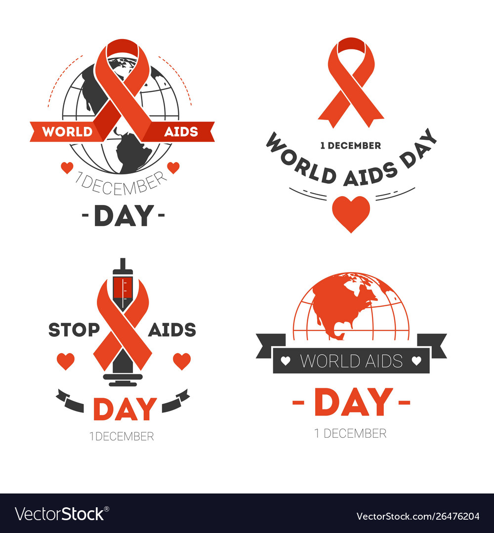 Aids day isolated icons red stripe or loop charity