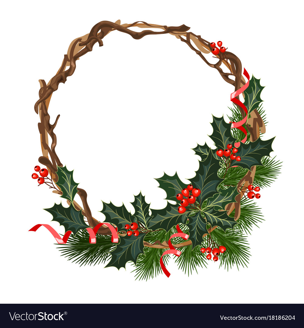 Christmas decorations with holly and red berries
