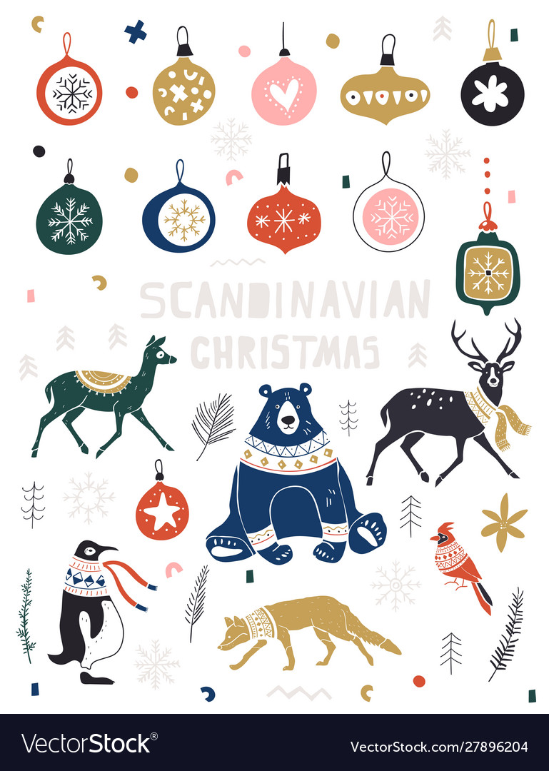 Christmas new year icons set in flat style