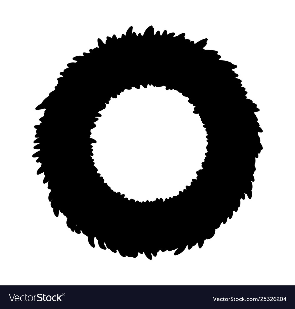 Christmas Wreath Silhouette Vector.Christmas Wreath Silhouette Symbol Icon Design