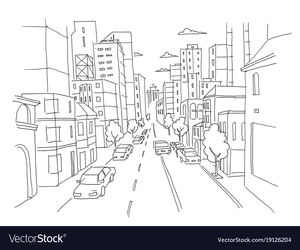 City street linear perspective sketch road view Vector Image
