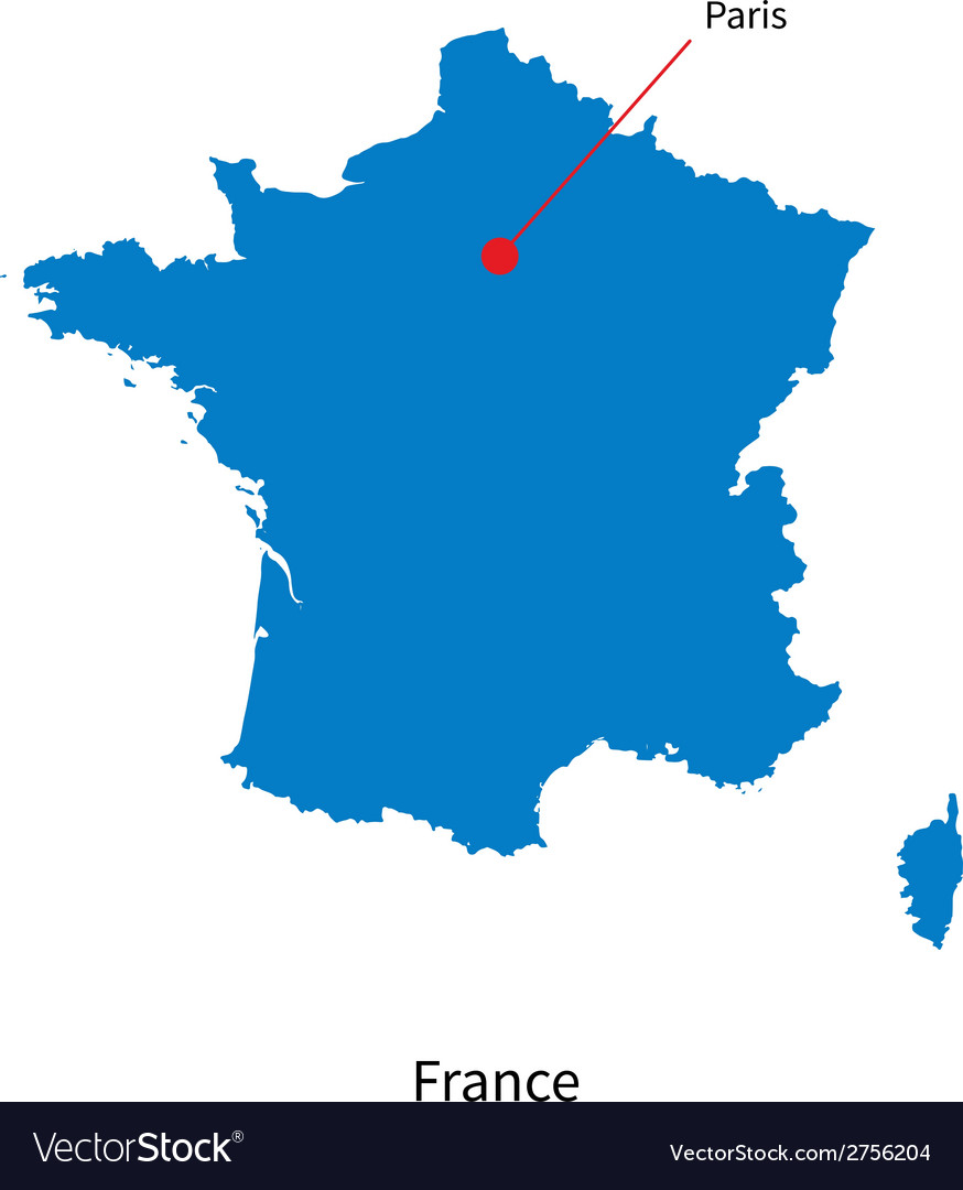 The Map Of France With The City.Detailed Map Of France And Capital City Paris