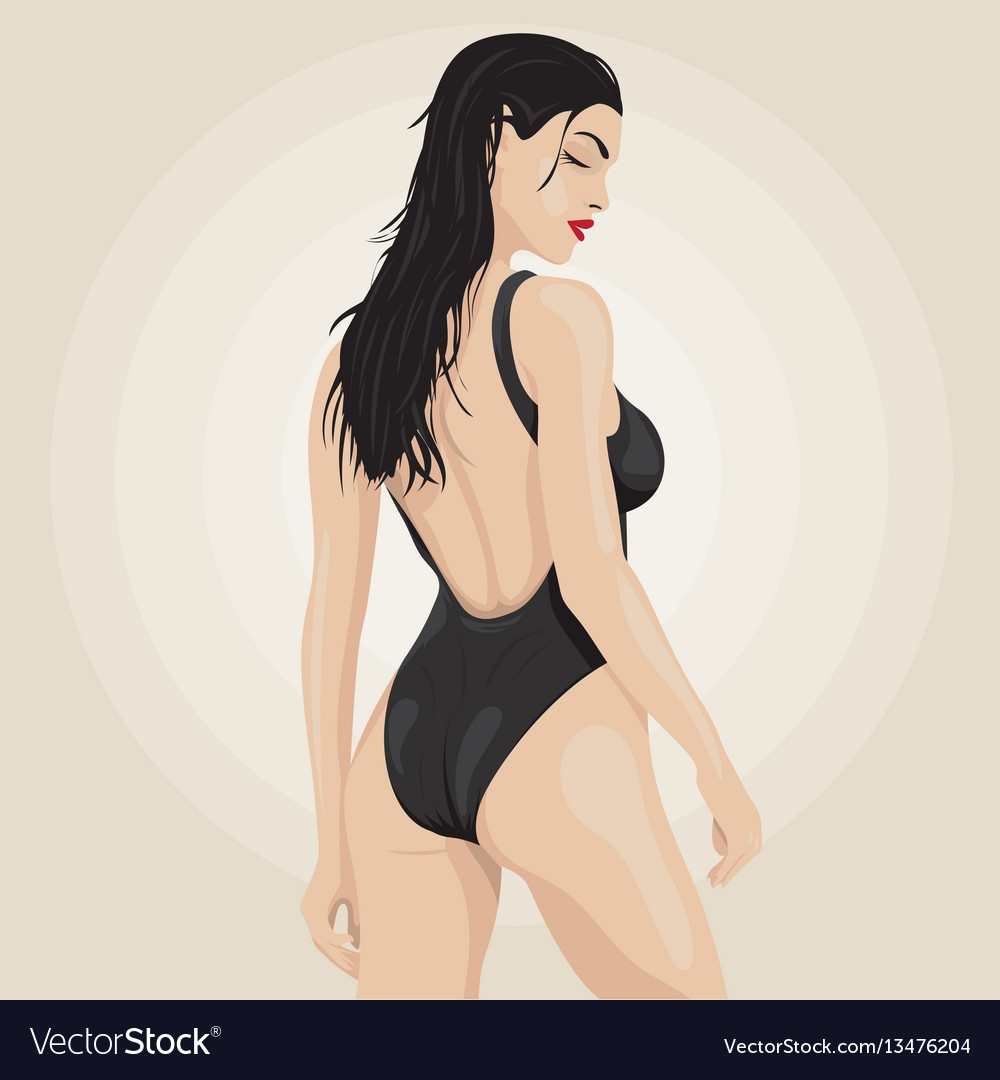 Fashion of a sexy beautiful brunette vector image