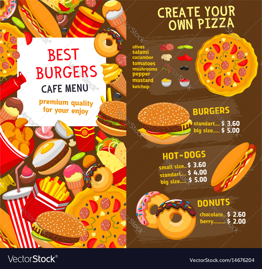 Fast food menu price template Royalty Free Vector Image