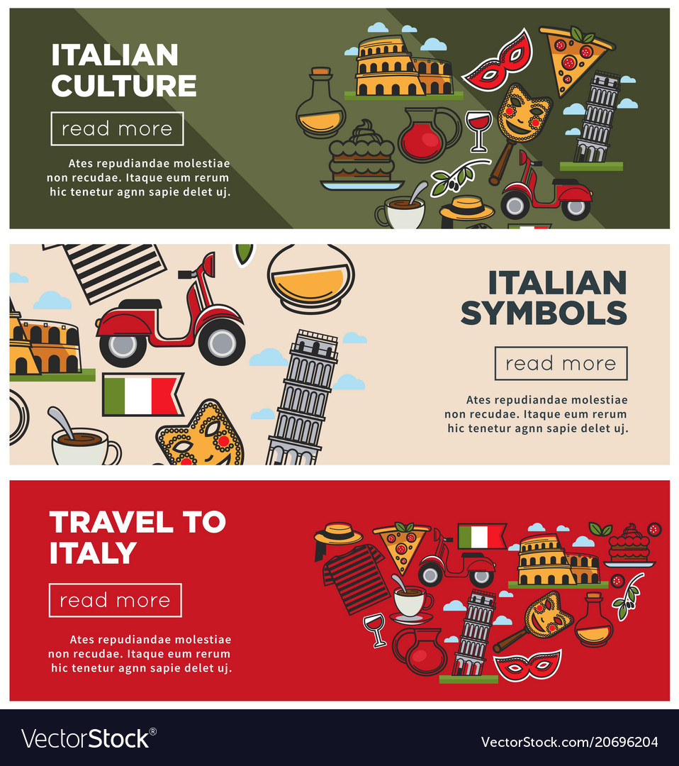 Italian Culture And Symbols On Internet Promo Vector Image