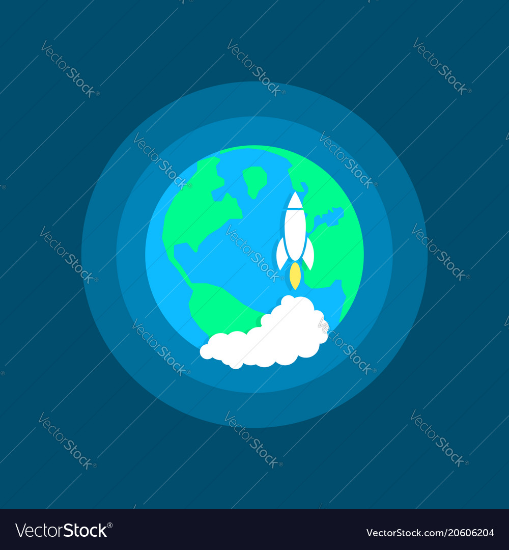 Launch space rocket on earth vector image