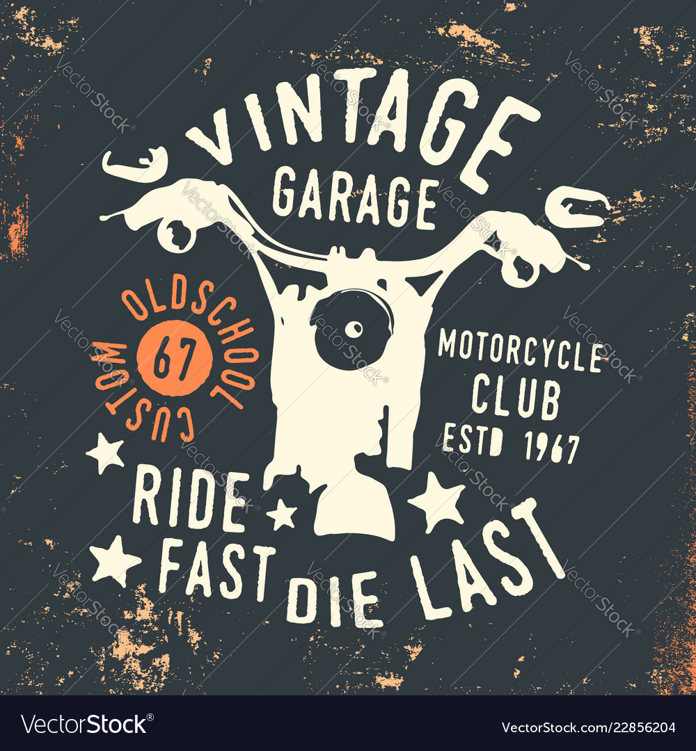 Motorcycle club - vintage garage t shirt print