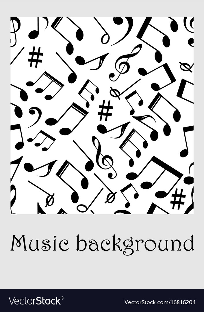 Seamless music background with notes treble clef