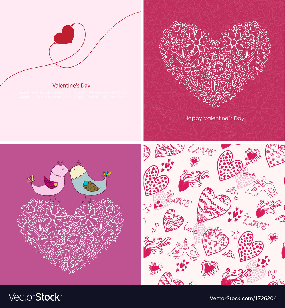 Set four happy valentines day backgrounds