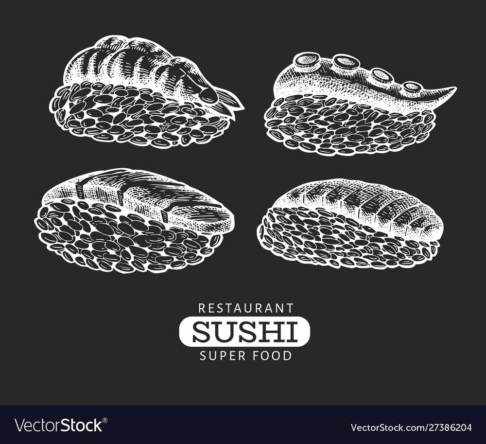 Sushi nigiri hand drawn on chalk board japanese