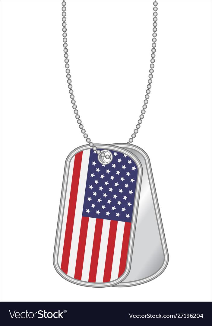 United states america flag on a steel dog tag
