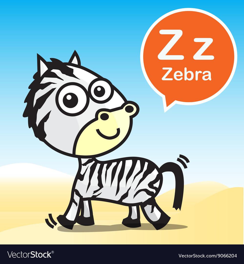 Z Zebra color artoon and alphabet for children to