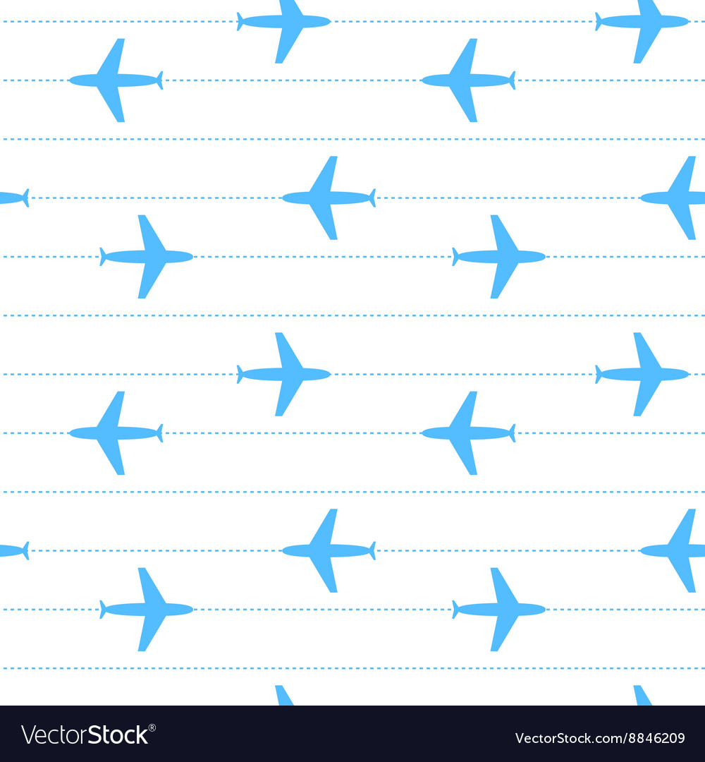 Blue and white flying planes striped seamless