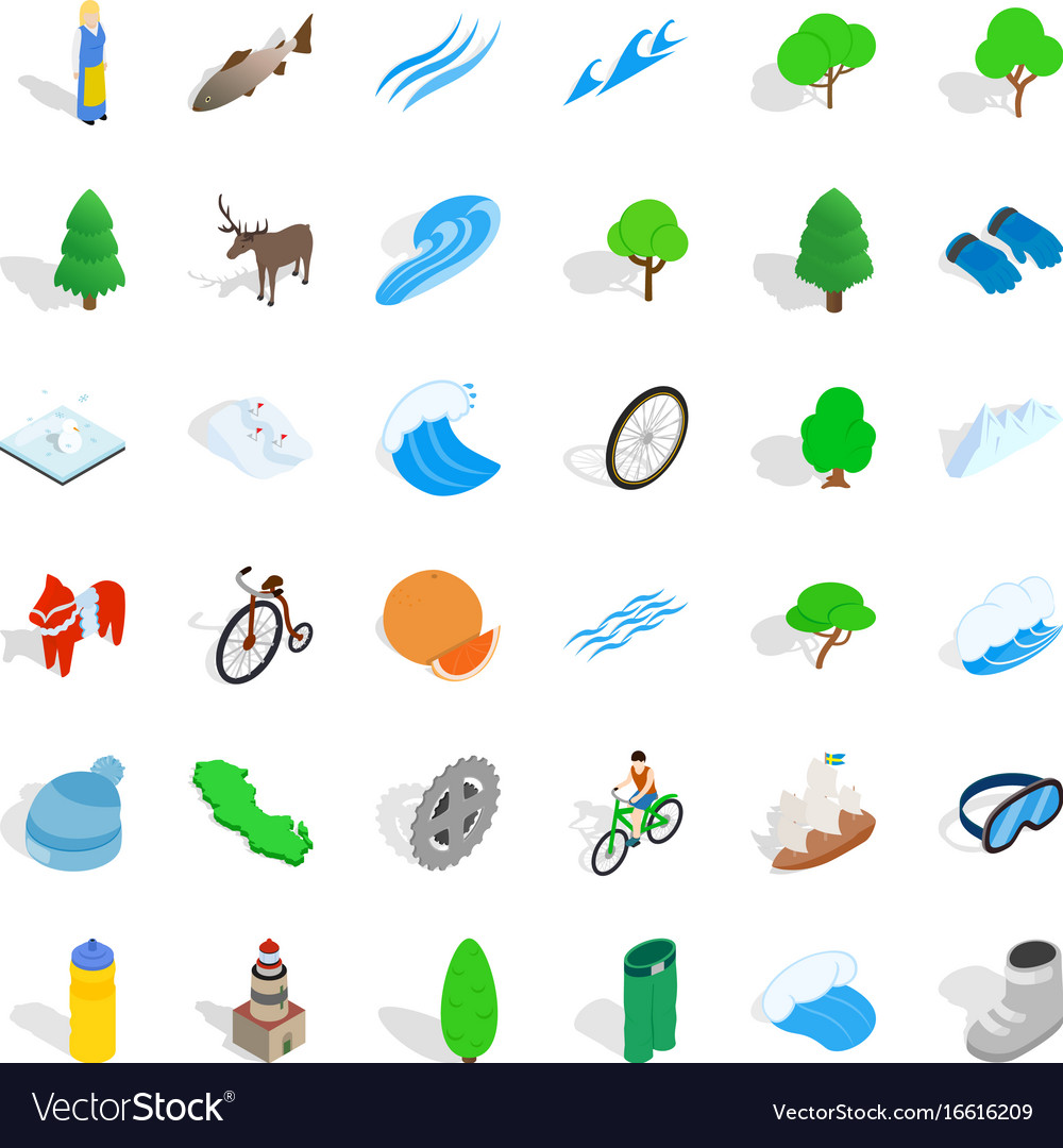 Camping in nature icons set isometric style vector image