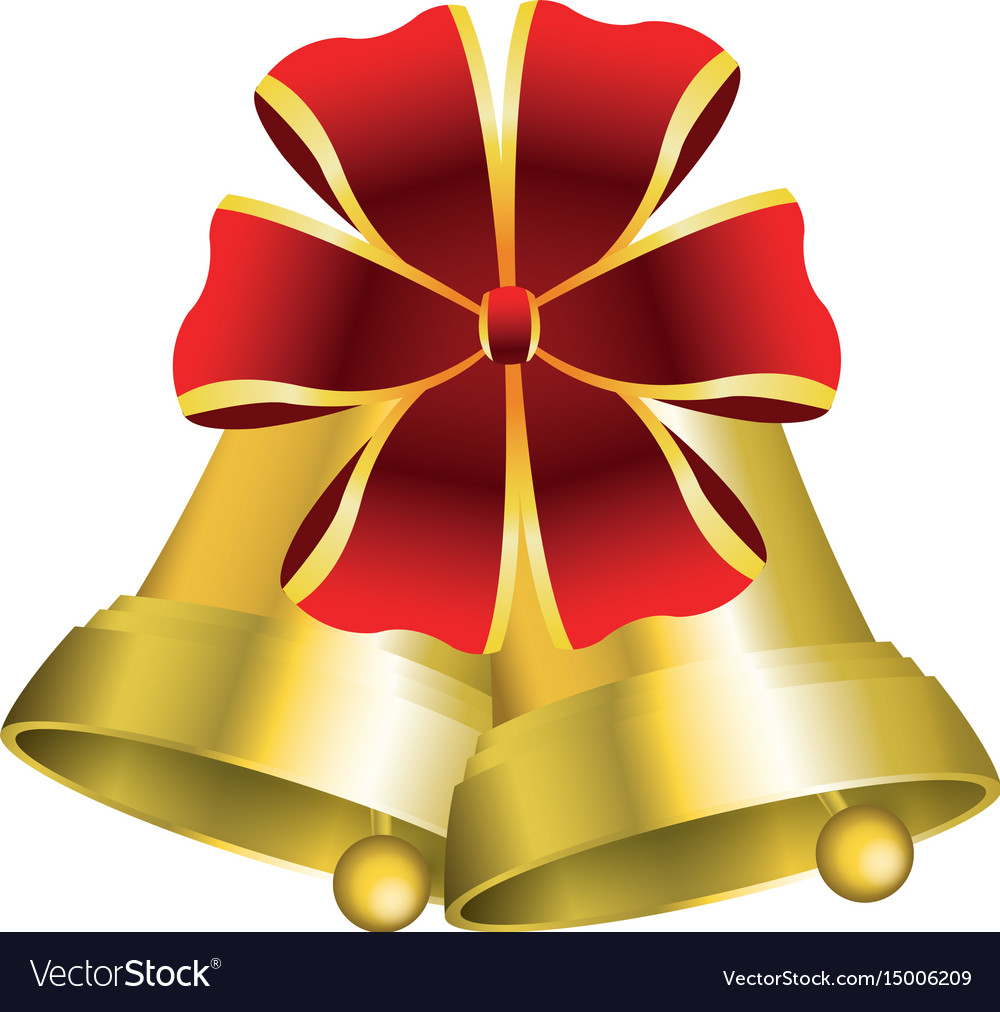 christmas bells with decorations golden ribbon vector image - Christmas Bells Decorations