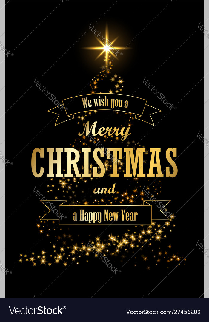 Christmas tree card ribbon black background